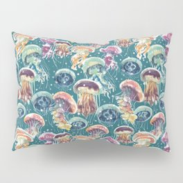 pattern with a lot of watercolor multicolored jellyfishes Pillow Sham