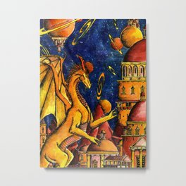 Yellow Dragon Metal Print