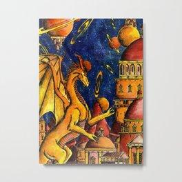 Yellow Dragon Metal Print