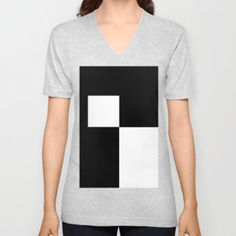 Black and White Color Block #2 Unisex V-Neck