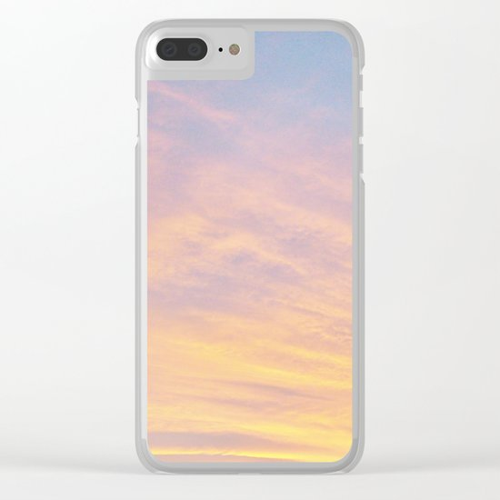 Blue Rose Yellow Sunrise Clear iPhone Case