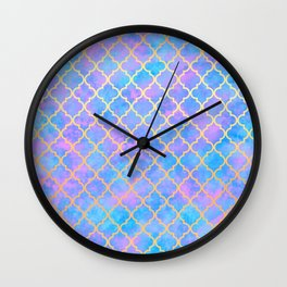 Pastel Pink Blue Gold Moroccan Quatrefoil Pattern Wall Clock