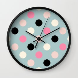 Geometric Orbital Spot Circles In Pink Black White & Green Wall Clock