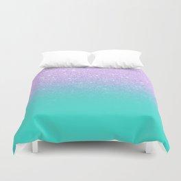 Modern mermaid lavender glitter turquoise ombre pattern Duvet Cover