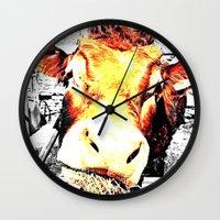 bull Wall Clocks featuring Bull by TexasDesignsByAmy