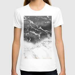 Modern black and white marble ombre watercolor color block T-shirt