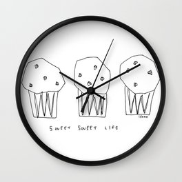 Sweet Sweet Life - cupcake illustration Wall Clock
