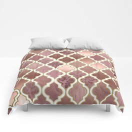 Rosegold Pink and Copper Moroccan Tile Pattern Comforters