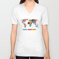 map V-neck T-shirts featuring map by ron ashkenazi