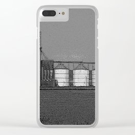 Black & White Grain Silos Pencil Drawing Photo Clear iPhone Case