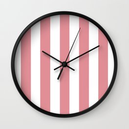 Ruddy pink - solid color - white vertical lines pattern Wall Clock