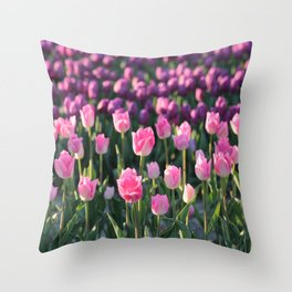 Purple and Pink Tulips Throw Pillow