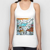 ski Tank Tops featuring Penguin Ski by Phil Fung