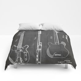 Bass Guitar Patent - Bass Guitarist Art - Black Chalkboard Comforters