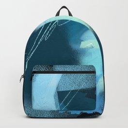 Midnight Blossom: an abstract, mixed media piece in dark and light blue / greens by Alyssa Hamilton Backpack