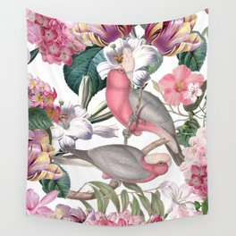 Vintage & Shabby Chic -Pink Parrots And Flowers  Wall Tapestry