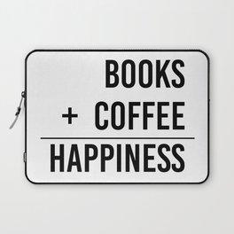 Books + Coffee = Happiness - Typography Laptop Sleeve