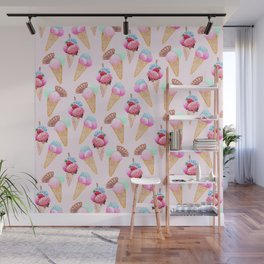 Ice cream Pattern summer cool watercolor Wall Mural