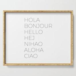 Hola Bonjour Hello Hej Nihao Aloha Ciao Serving Tray