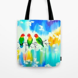 Lovebirds on a branch Tote Bag