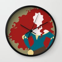 merida Wall Clocks featuring Merida by Dewdroplet