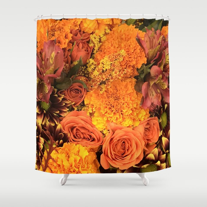 Autumn Floral Bouquet in Bright Orange and Golds Shower Curtain