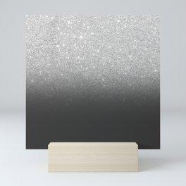 Modern faux silver glitter ombre grey black color block Mini Art Print