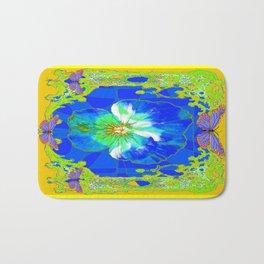 Cerulean Blue Pansy Yellow Abstract & Butterflies Bath Mat