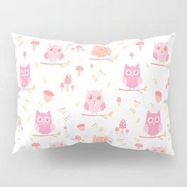 Cute funny pastel pink coral orange owl floral Pillow Sham
