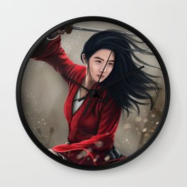 Chinese Female Warrior Mulan Wall Clock