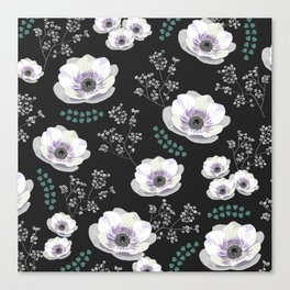 Anemones collection black pattern Canvas Print