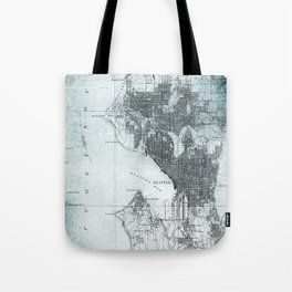 Vintage Seattle City Map Tote Bag