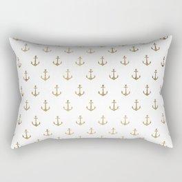 Elegant nautical faux gold white modern anchor Rectangular Pillow