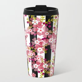 Floral pattern black and white striped background Metal Travel Mug