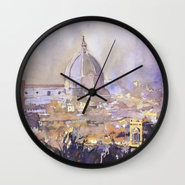Watercolor of the historic Duomo and cityscape of Florence from the Palazzo di Michelangelo- Florence, Italy Wall Clock