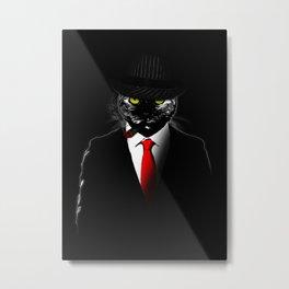 Mobster Cat Metal Print