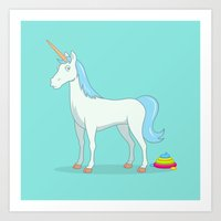 poop Art Prints featuring Unicorn Poop by See Mike Draw
