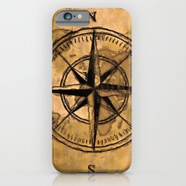 Destinations - Compass Rose and World Map iPhone Case