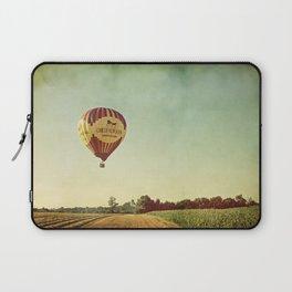 Hot Air Balloon Over Farmland Laptop Sleeve