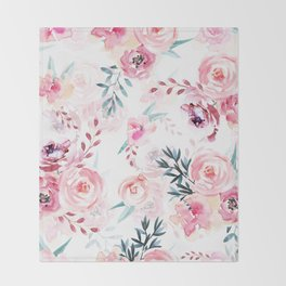 Pink Watercolor Florals I Throw Blanket