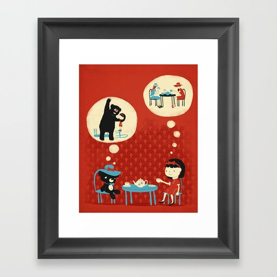 Tea Party with Mr. Cuddles Framed Art Print