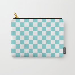 Gingham Pale Turquoise Checked Pattern Carry-All Pouch