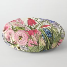 Cottage Garden Flower Whimsical Acrylic Painting Floor Pillow