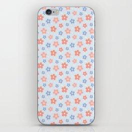 Blue Pink Flower Pattern iPhone Skin