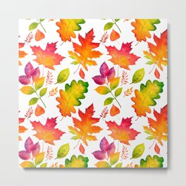 Fall Leaves Watercolor - White Metal Print