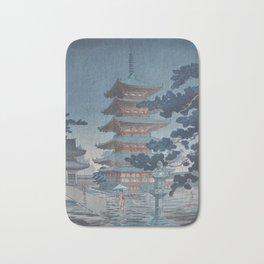 1938 Tsuchiya Koitsu Japanese Woodblock Print Rain at Horyuji Temple Nara Bath Mat