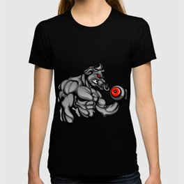 a strong angry bull with a barbell T-shirt