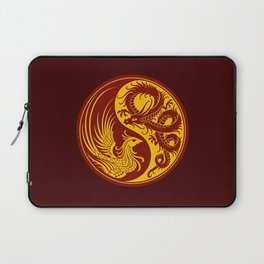 Yellow and Red Dragon Phoenix Yin Yang Laptop Sleeve