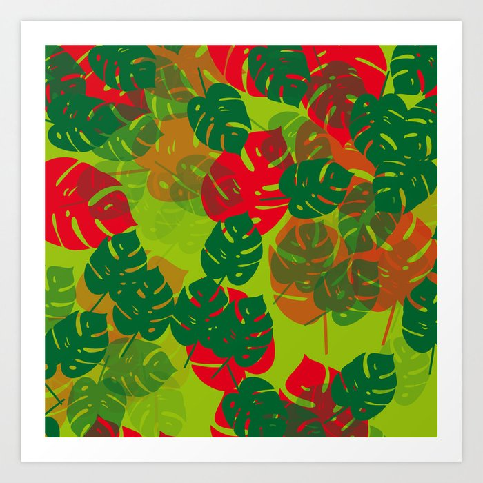 monstera green red Art Print
