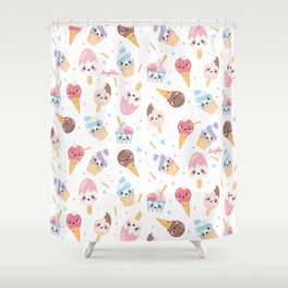 Cute Gelato [White Background] Shower Curtain